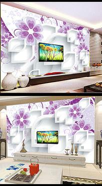 花朵3D立体方块背景墙