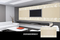 素雅花纹边框电视背景墙
