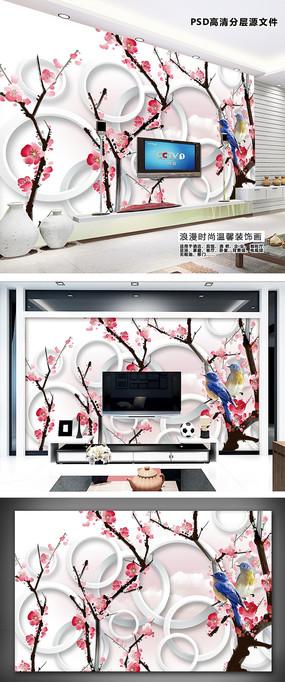 大型花鸟3D装饰画客厅电视背景墙
