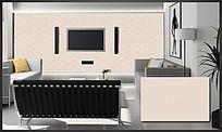 菱形纯色花纹电视背景墙