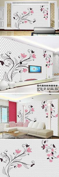 现代简约欧式花纹客厅电视背景墙