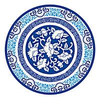 圆形青花瓷古典花纹