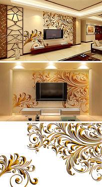浮雕花纹透明背景客厅电视背景墙