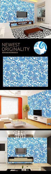 中国风纯色复古花纹背景墙