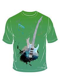 动感吉他t恤印花图案
