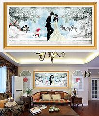 浪漫手牵手冬季浪漫客厅装饰画卧室挂画