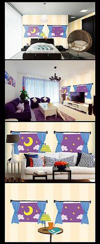 卡通夜空星星月亮背景墙