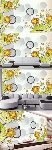 绿色叶子花朵3D电视背景墙