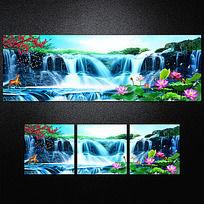 山水瀑布風景客廳裝飾畫無框畫