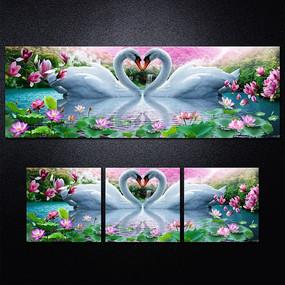 天鹅温馨荷花塘装饰画无框画