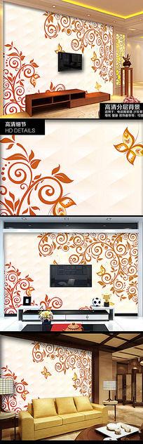 高档欧式花纹电视背景墙