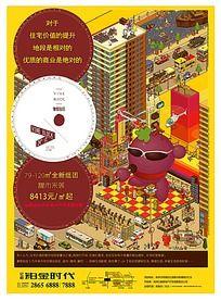 商业房地产卡通促销海报