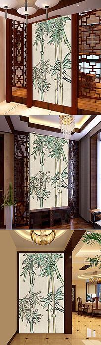 中国风竹子室内隔断玄关设计