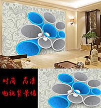 3D欧式花纹客厅电视背景墙