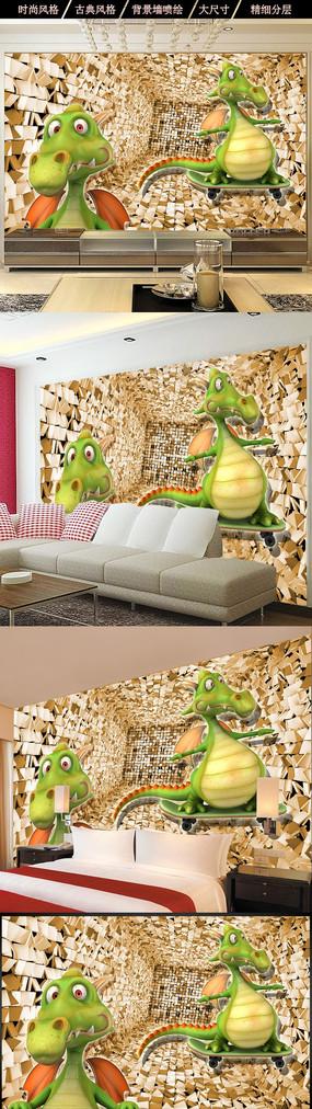 3D恐龙立体空间儿童房背景墙