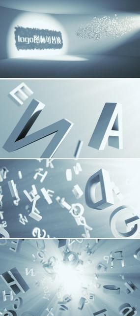 三维立体字母汇聚logo展示ae模板