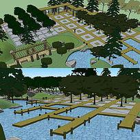 草图大师sketchup广场公园景观模型