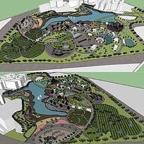 草图大师sketchup滨湖公园景观模型