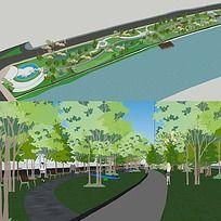 草图大师sketchup滨水滨河公园景观模型