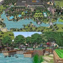 草图大师sketchup度假村公园景观模型