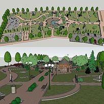 草图大师sketchup公园景观模型