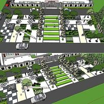 草图大师sketchup街头公园景观模型