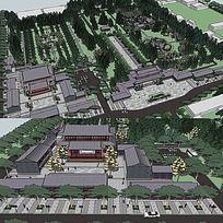 草图大师sketchup中式纪念公园景观模型