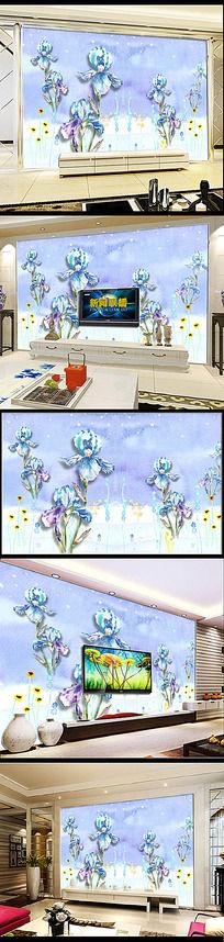 立体手绘壁画电视背景墙