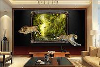 现代风格风景油画3D背景墙