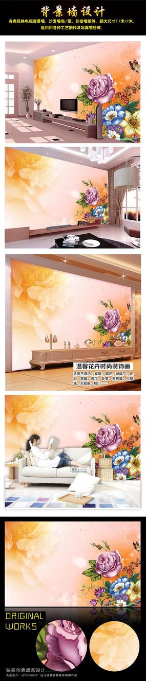 梦幻花卉花朵电视背景墙