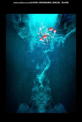华丽花朵绽放水底世界创意广告