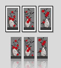 时尚玫瑰花花瓶无框画装饰画