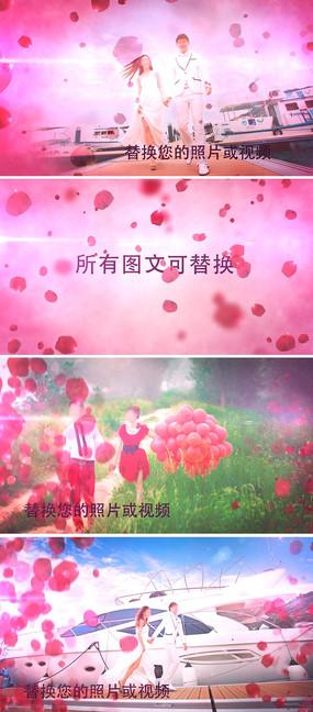 玫瑰花瓣婚礼婚纱照电子相册AE模板