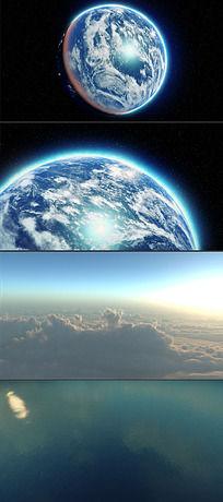 地球穿梭云层标志展示
