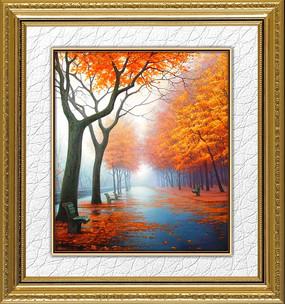 秋天的大街風景油畫裝飾畫