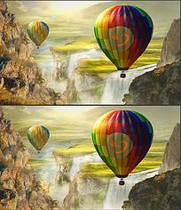 壮阔山水场景中热气球上的logo展示ae模板