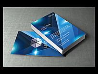 蓝色科技风格企业名片模版
