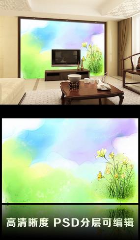 绿色春天简约客厅电视背景墙图片