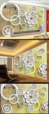 家和万事兴圆圈水墨花电视背景墙