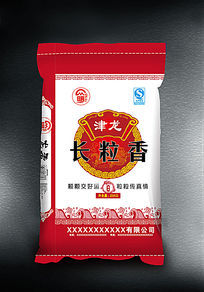 津龙长粒香大米袋设计素材