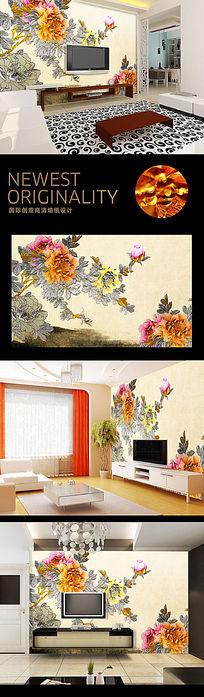 彩雕中国风牡丹图电视背景墙