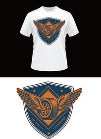 轮胎翅膀图案T恤印花图案