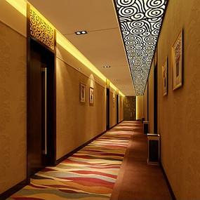 酒店走廊3d效果图