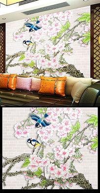 桃花朵朵开花鸟画背景墙