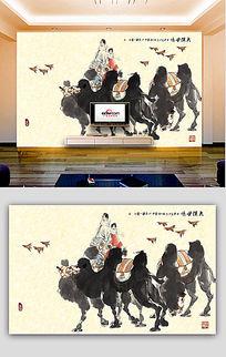 大漠驼铃背景墙壁画