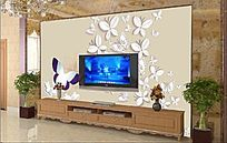 蝴蝶飞舞电视背景墙