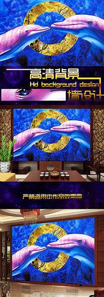 超高清海洋生物与古典图案电视背景