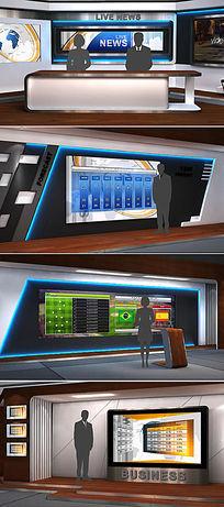 虚拟三维立体3d演播室ae模板