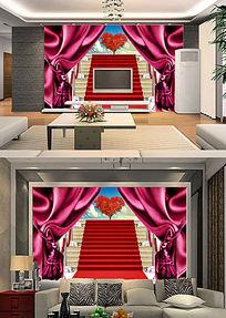 3D立体窗帘外的风景客厅电视背景墙