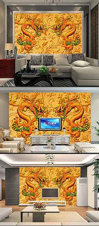 3D龙浮雕客厅电视背景墙